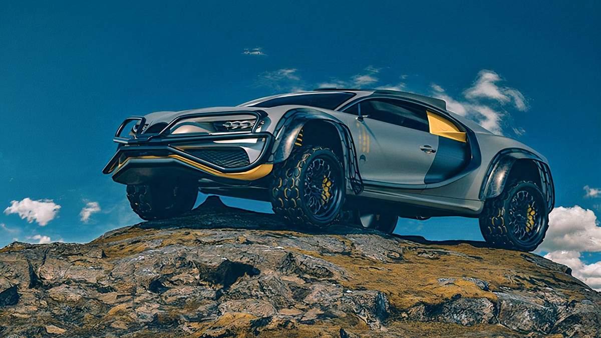 Гіперкар, якому не страшне бездоріжжя: дизайнер зробив концепт Bugatti Chiron Terracross 4X4