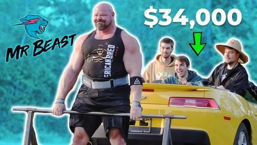 Стронгмен Брайан Шоу променял штангу на Chevy Camaro в становой тяге: видео безумного вызова